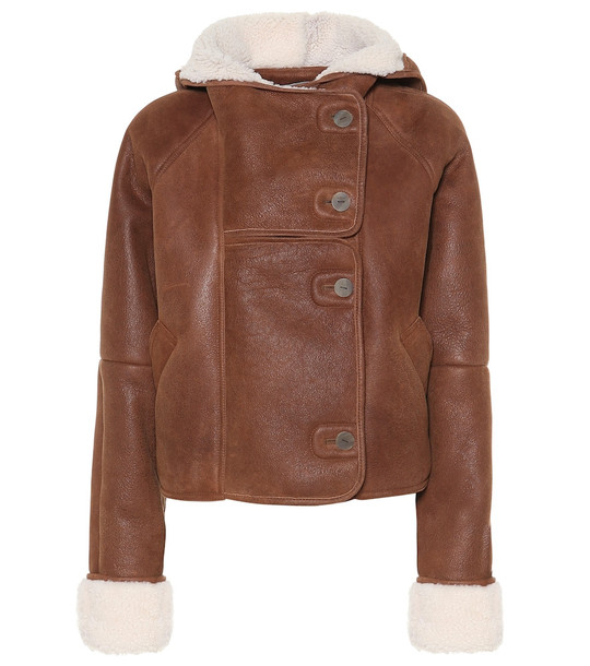 Loewe Shearling-trimmed leather jacket in brown