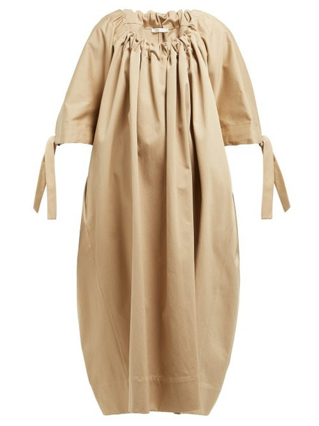 The Row - Libby Gathered Neck Cotton Dress - Womens - Tan