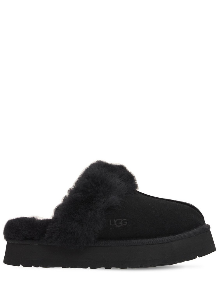 UGG 25mm Disquette Suede & Shearling Mules in black
