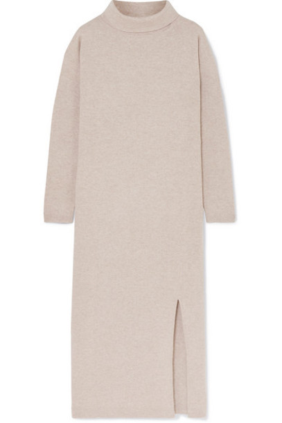 Allude - Wool And Cashmere-blend Turtleneck Midi Dress - Beige