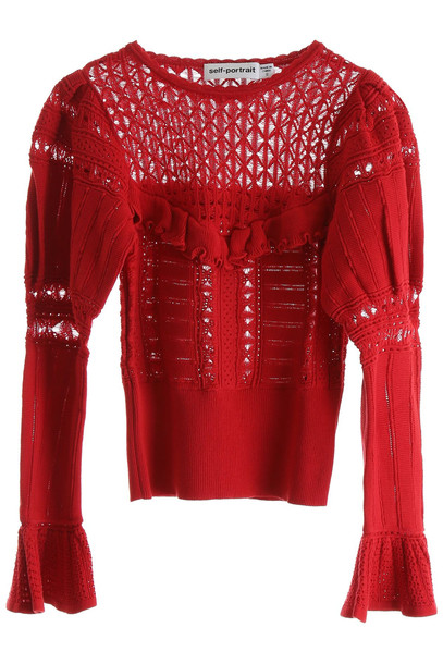 self-portrait Ajour Lace Knit Top in red