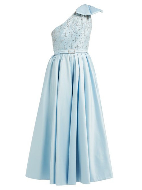Alessandra Rich - Crystal Bodice One Shoulder Cotton Blend Gown - Womens - Light Blue
