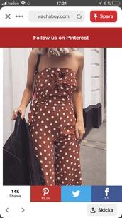 jumpsuit,brown,polka dots