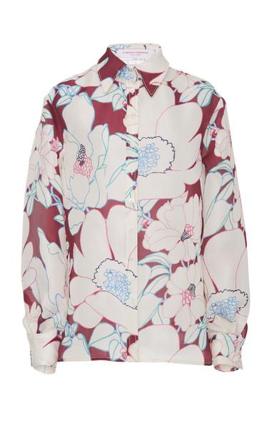 Carolina Herrera Floral Printed Silk Button Up Blouse
