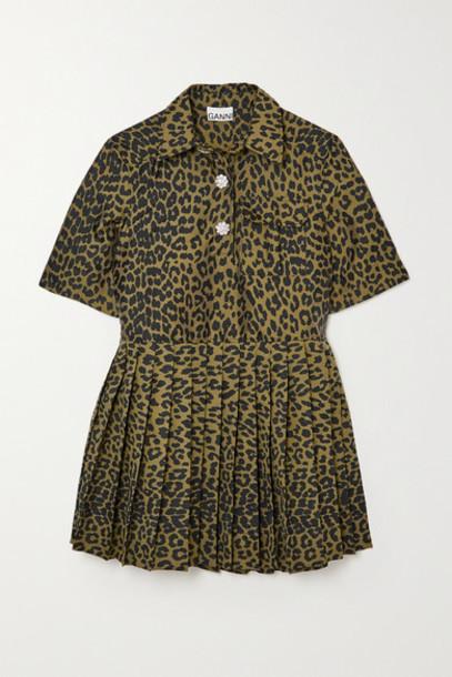 GANNI - Crystal-embellished Pleated Leopard Jacquard Mini Dress - Leopard print