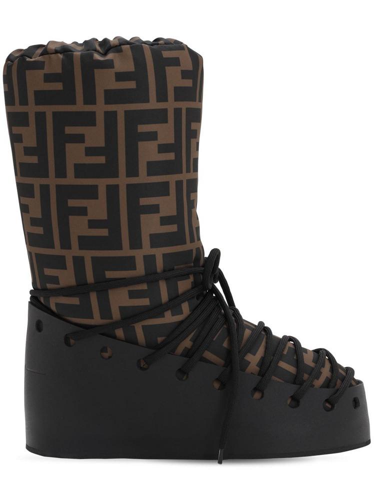 FENDI 30mm Ff Nylon & Leather Snow Boots in black / brown