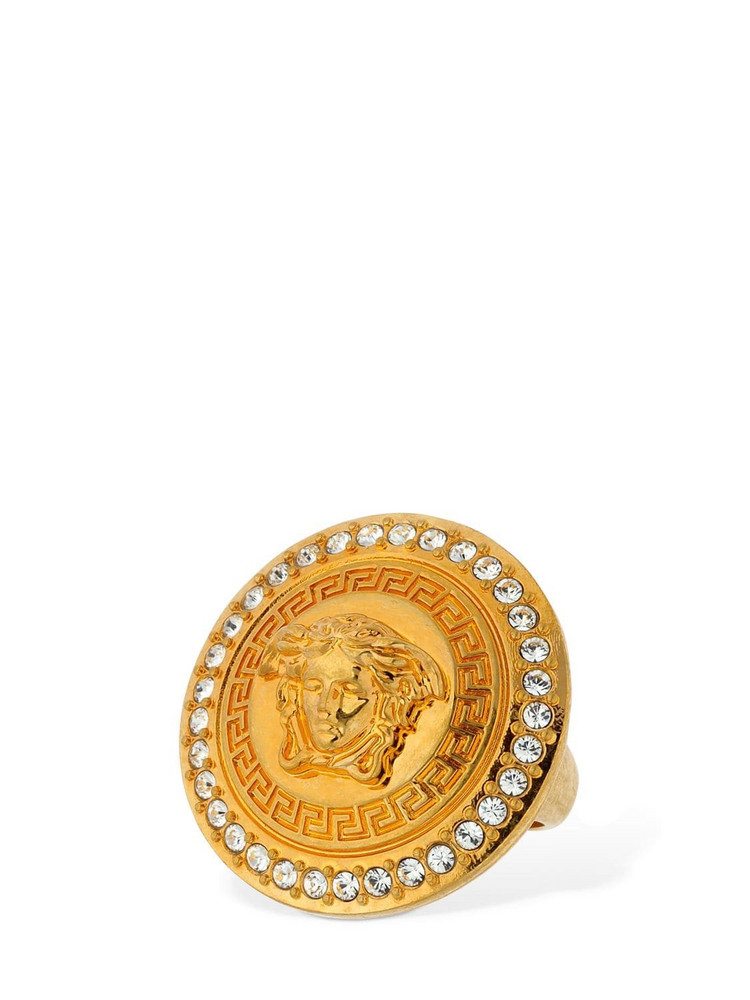 VERSACE Medusa Tribute Ring W/ Crystals in gold