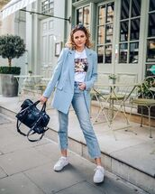 jeans,straight jeans,high waisted jeans,white sneakers,blazer,double breasted,black bag,white t-shirt