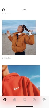 top,puffer jacket,emma chamberlain,rust colour