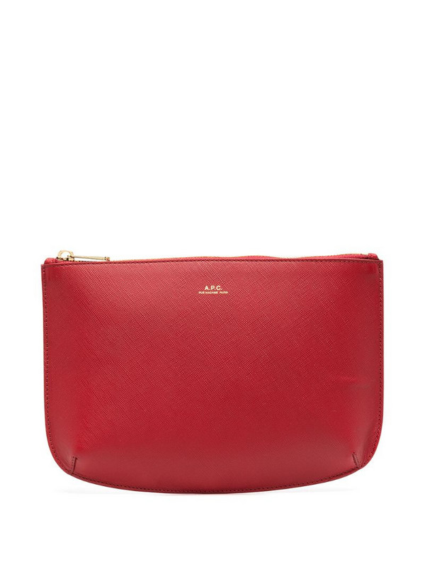 A.P.C. leather make-up bag in red