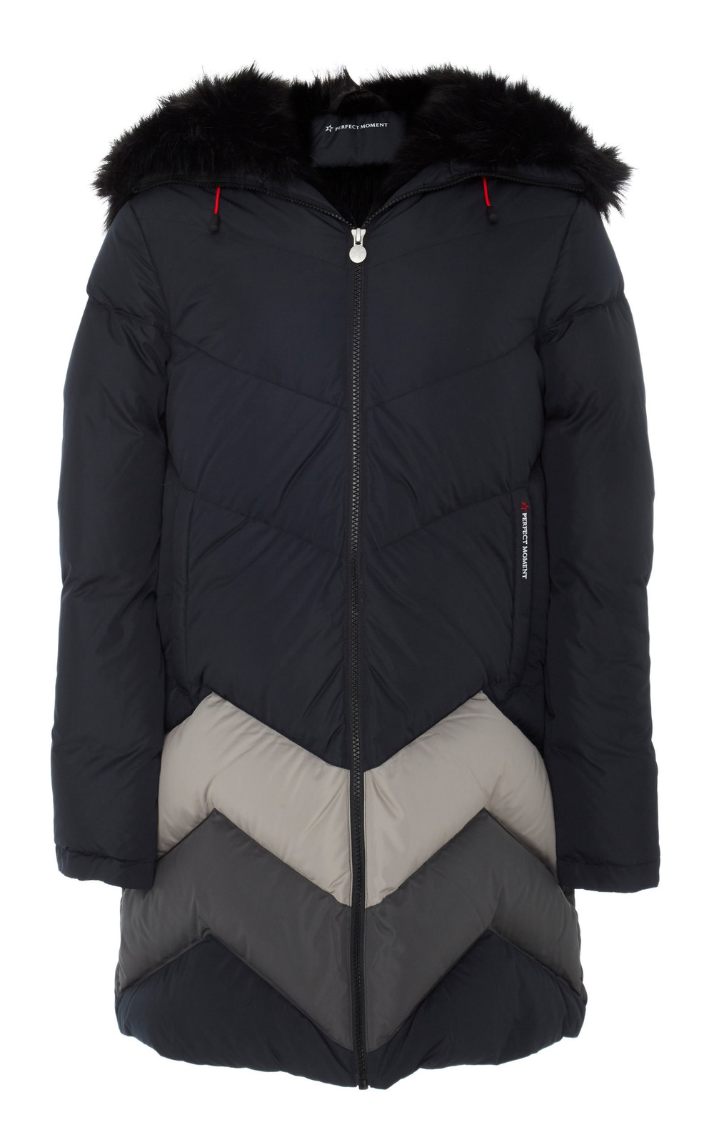 Perfect Moment Oversized Faux Fur-Trimmed Quilted Shell Down Coat in black