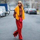 sweater,turtleneck sweater,wide-leg pants,vest,pumps,crossbody bag