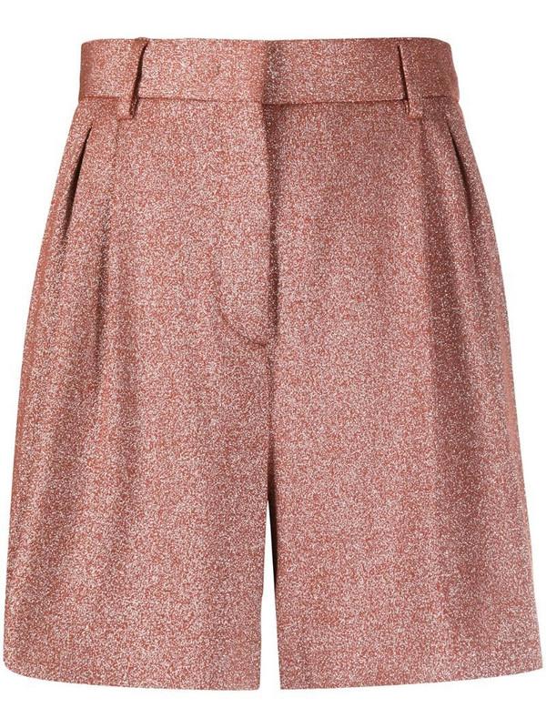 M Missoni metallic pleated shorts in orange