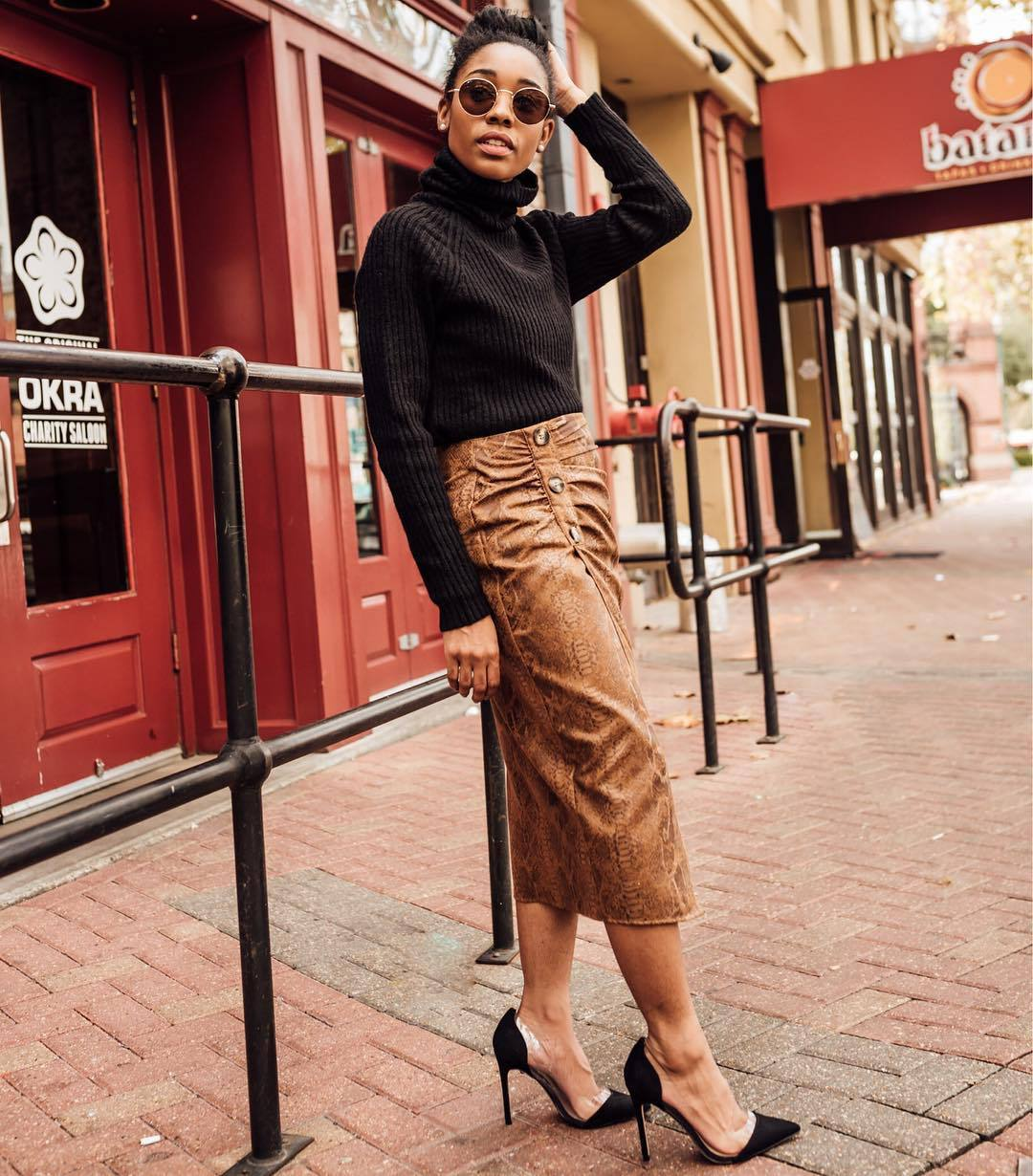 skirt midi skirt suede snake print pumps black sweater turtleneck sweater knitted sweater slit skirt zara