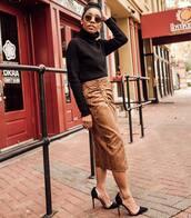 skirt,midi skirt,suede,snake print,pumps,black sweater,turtleneck sweater,knitted sweater,slit skirt,zara