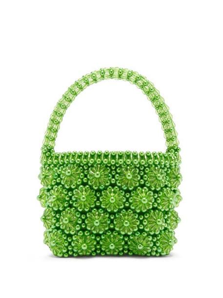 Shrimps - Shelly Beaded Floral Handbag - Womens - Green