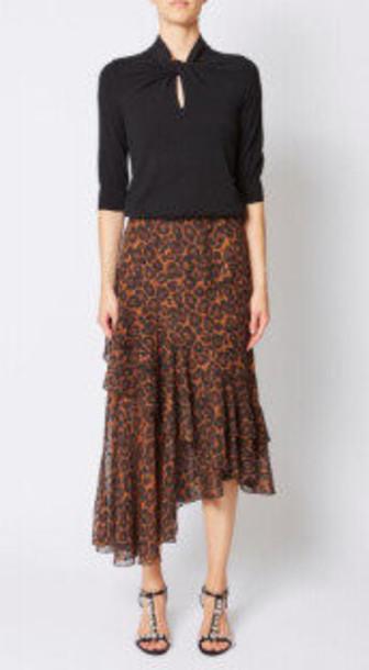 Erdem Antoinette Leopard-Print Fil Coupé Chiffon Midi Skirt in multi
