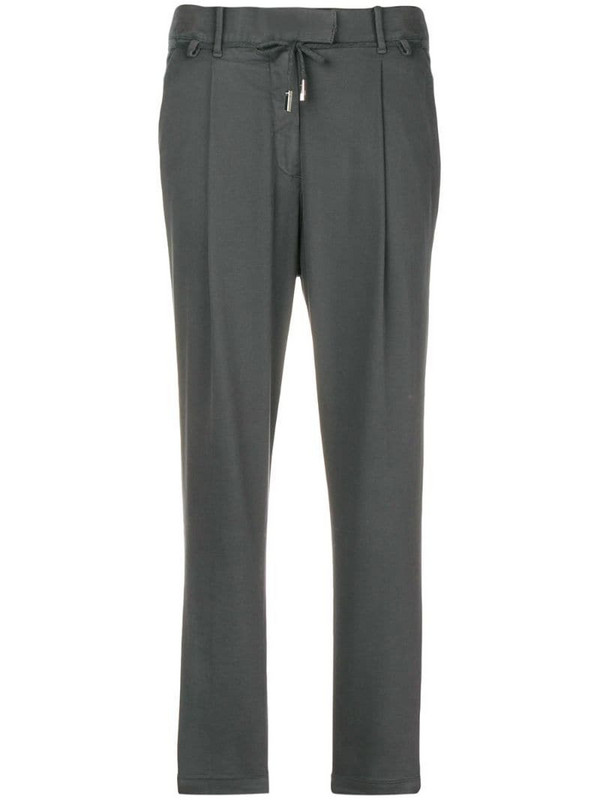 Eleventy cropped tapered trousers in grey