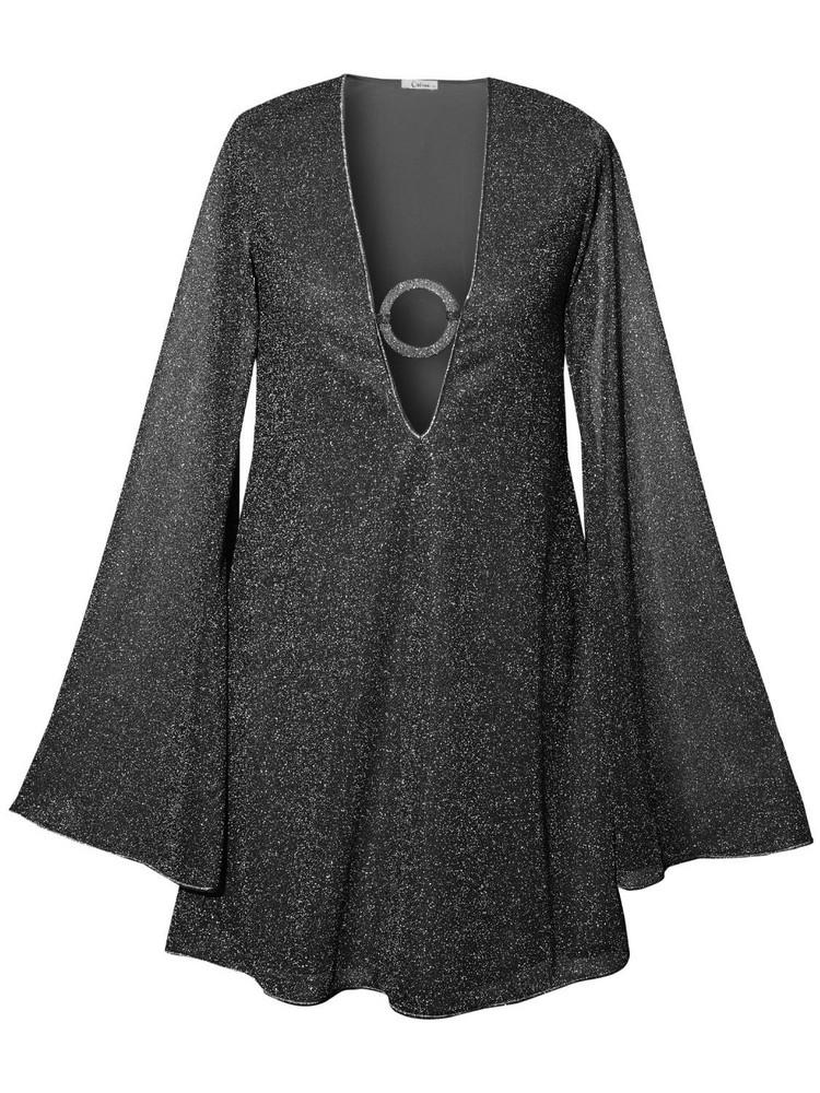 OSÉREE SWIMWEAR Lumière Ring Detail Kaftan Mini Dress in black