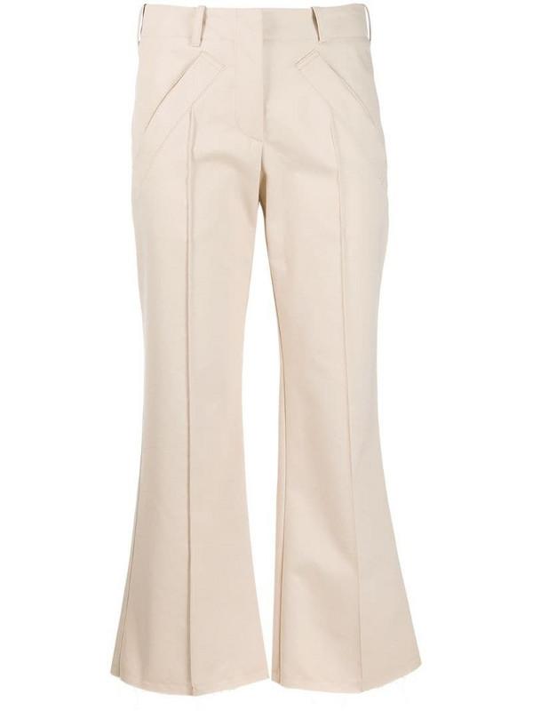 Jejia pipe-trim flared trousers in neutrals