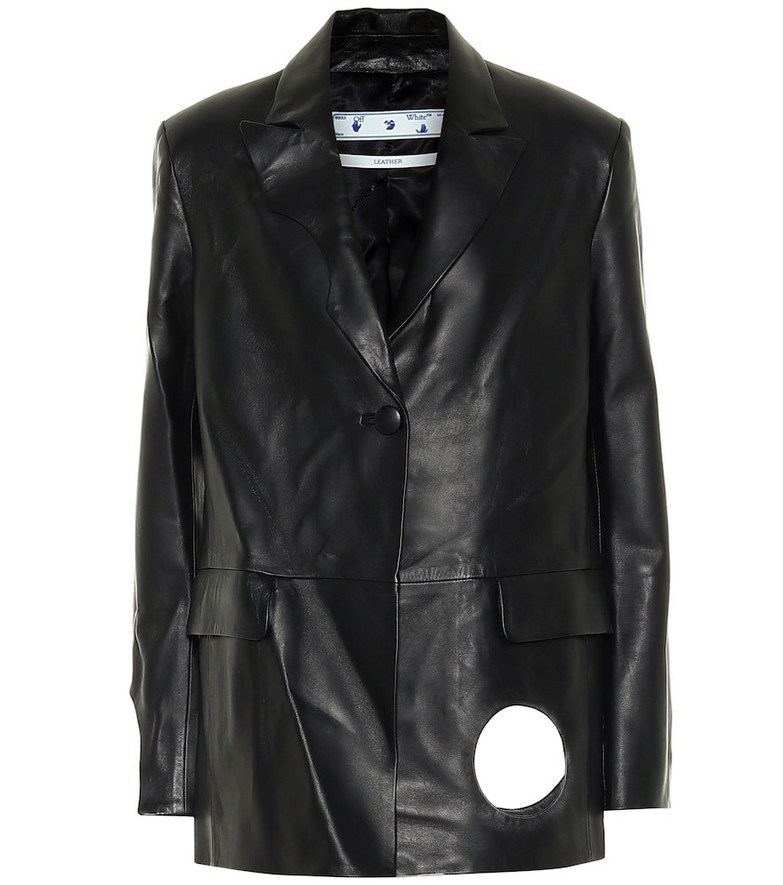 Off-White Cut-out leather jacket in black