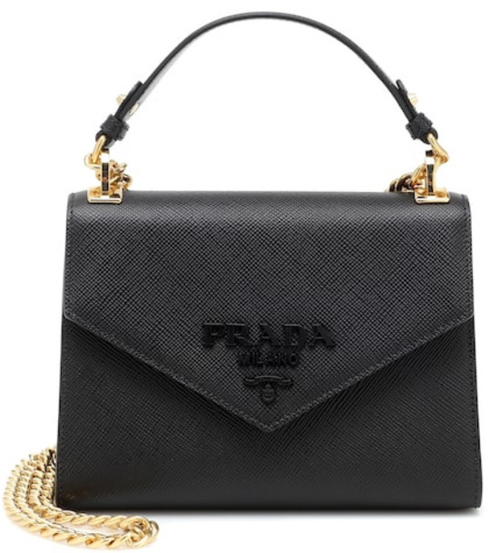 Prada Monochrome leather shoulder bag in black