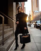 bag,black bag,shoulder bag,black boots,ankle boots,heel boots,skinny pants,black coat,black sweater,turtleneck sweater
