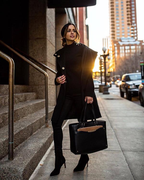 bag black bag shoulder bag black boots ankle boots heel boots skinny pants black coat black sweater turtleneck sweater