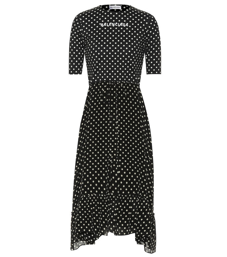 Balenciaga Crêpe polka-dot midi dress in black