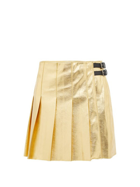 Msgm - Eco Pleated Faux Leather Mini Skirt - Womens - Gold