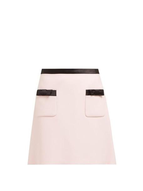 Miu Miu - Bow Embellished Mini Skirt - Womens - Light Pink