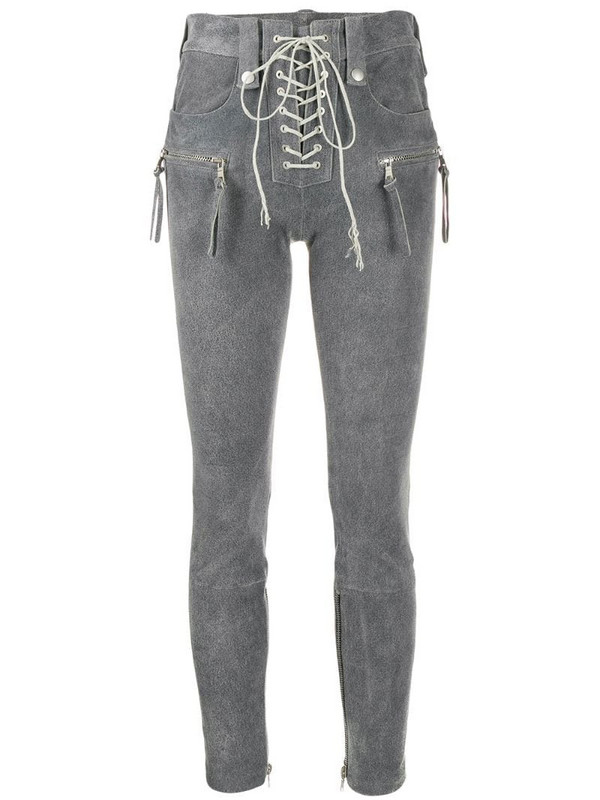 UNRAVEL PROJECT high-rise lace trousers in grey