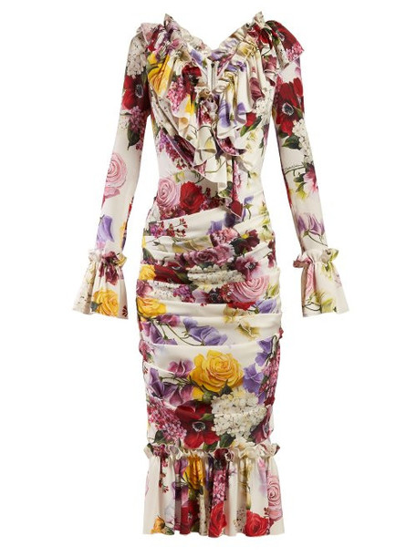 Dolce & Gabbana - Rose And Hortensia Print Crepe Midi Dress - Womens - White Multi