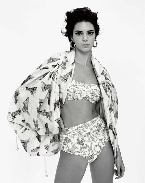 swimwear light blue bikini top bikini bottoms bikini bandeau kendall jenner editorial kardashians model high waisted bikini