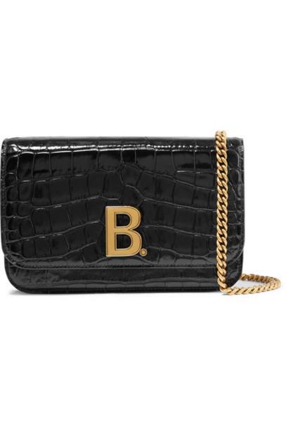 Balenciaga - Croc-effect Leather Shoulder Bag - Black