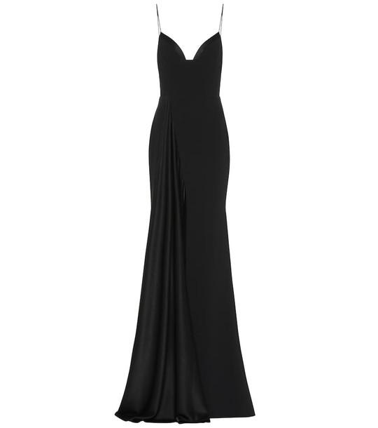 Alex Perry Harlyn satin crêpe gown in black