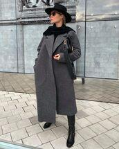 coat,grey coat,black boots,flat boots,scarf,hat,black bag