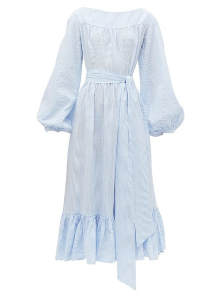 Wiggy Kit - Veranda Striped Cotton Seersucker Midi Dress - Womens - Blue Multi