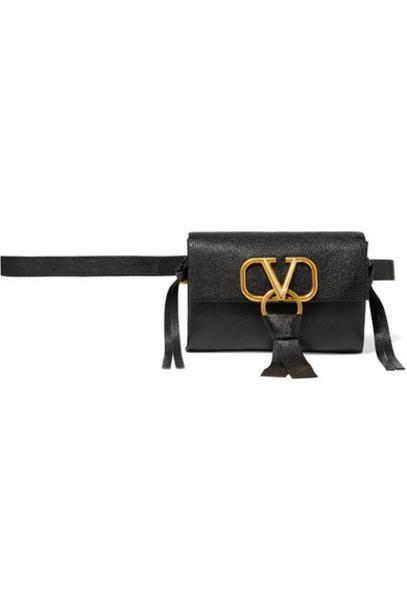 Valentino - Valentino Garavani Vring Textured-leather Belt Bag - Black