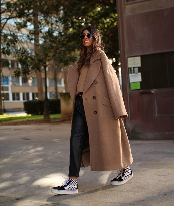 coat long coat vans sneakers black leather pants sweater