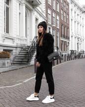 jacket,faux fur jacket,white sneakers,chanel bag,black bag,black pants,black turtleneck top,black beanie