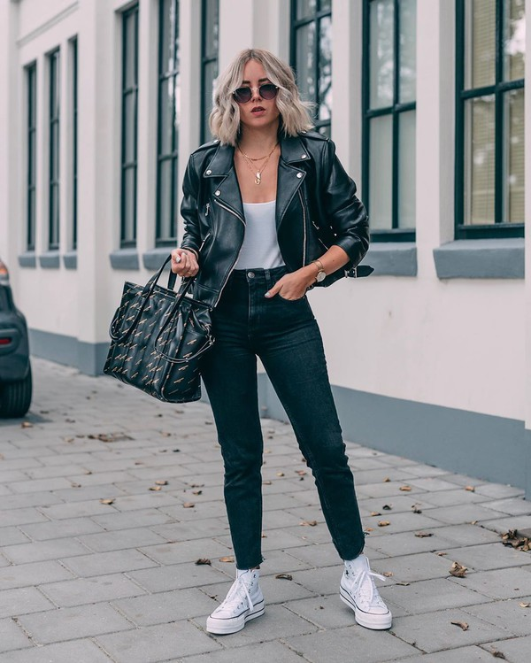 jacket black leather jacket zara converse sneakers black jeans high waisted jeans white top bag