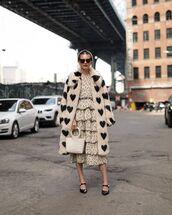 coat,faux fur coat,long coat,mules,midi dress,layered,white bag,black sunglasses,headband