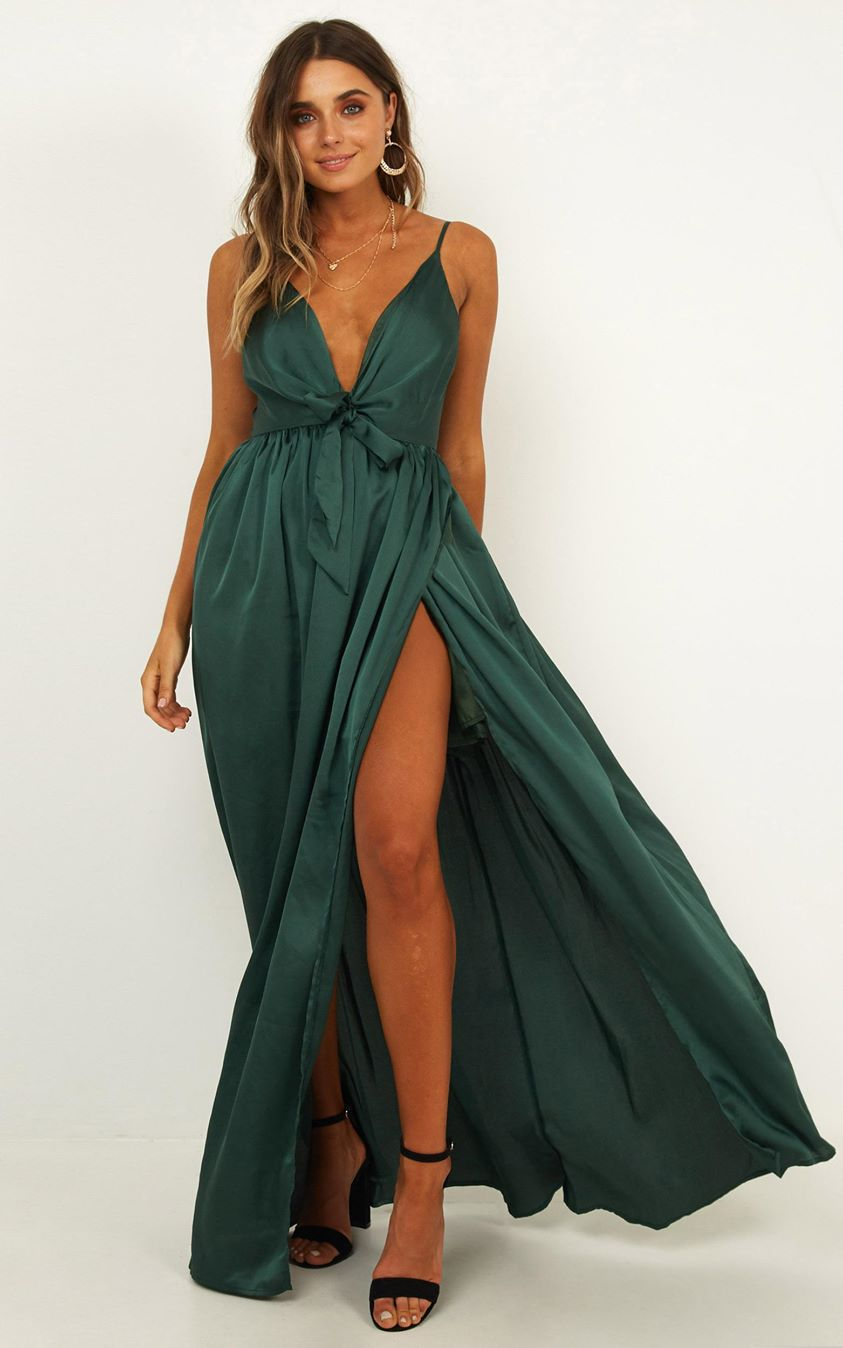 Miracle Worker Dress In Emerald Satin