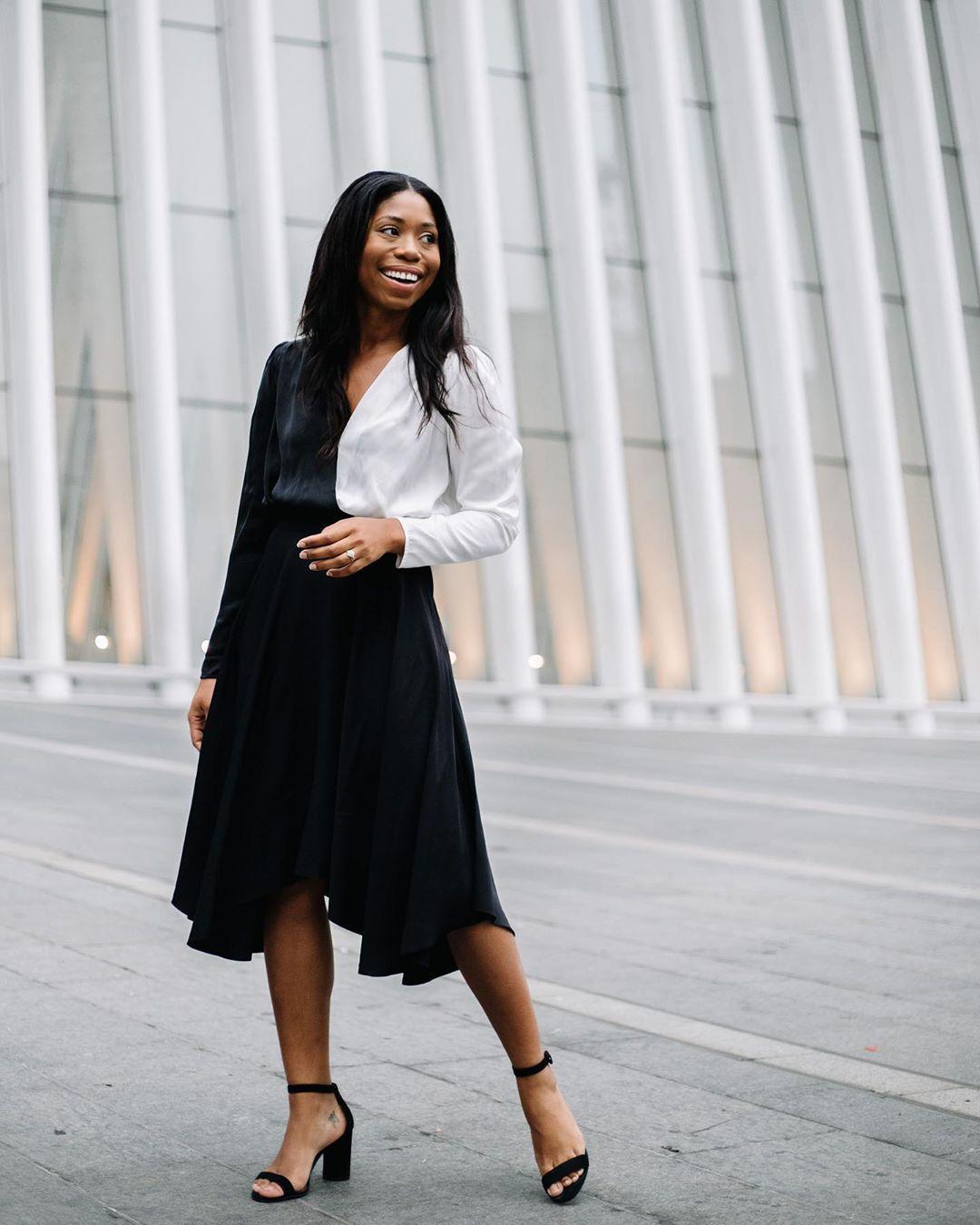 top black and white top black and white long sleeves black skirt midi skirt asymmetrical skirt black sandals