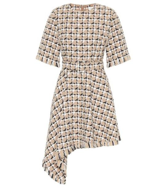 Oscar de la Renta Cotton and wool tweed minidress in beige
