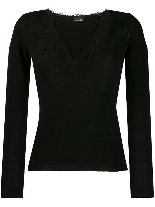 Ermanno Ermanno lace detail jumper in black