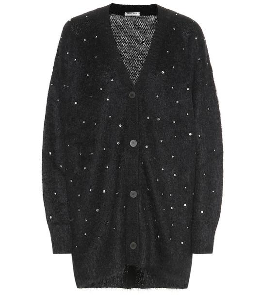 Miu Miu Embellished mohair-blend cardigan in black