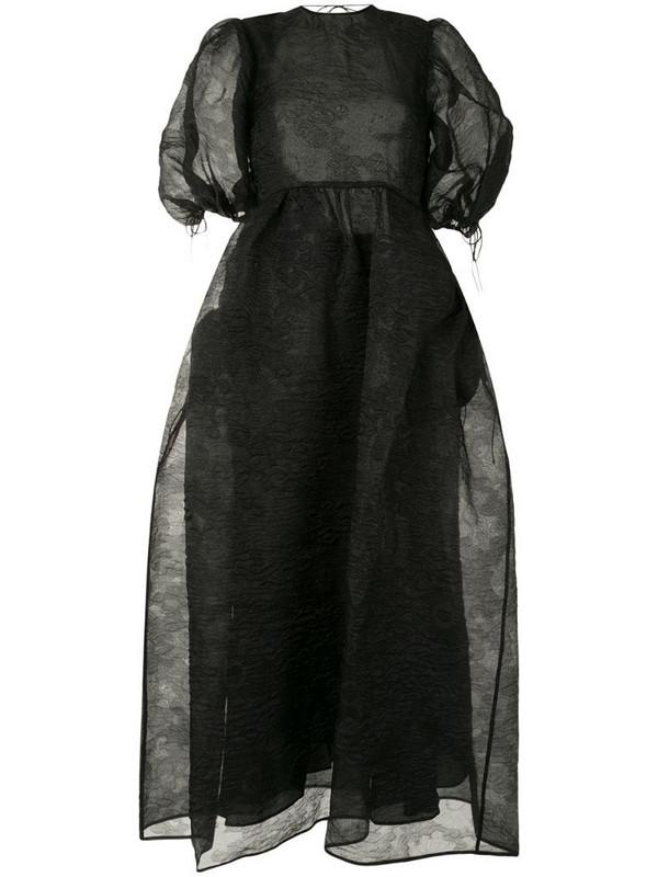 Cecilie Bahnsen sheer puff-sleeve maxi dress in black