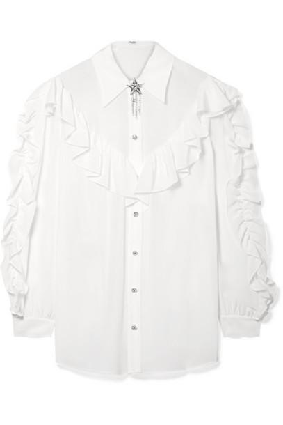 Miu Miu - Crystal-embellished Ruffled Silk-georgette Blouse - Ivory